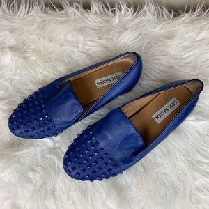 Steve Madden Blue Leather Studded Mules